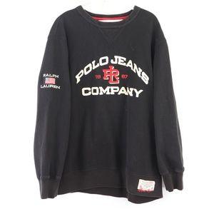90s Ralph Lauren Mens Medium Flag Sweatshirt Black